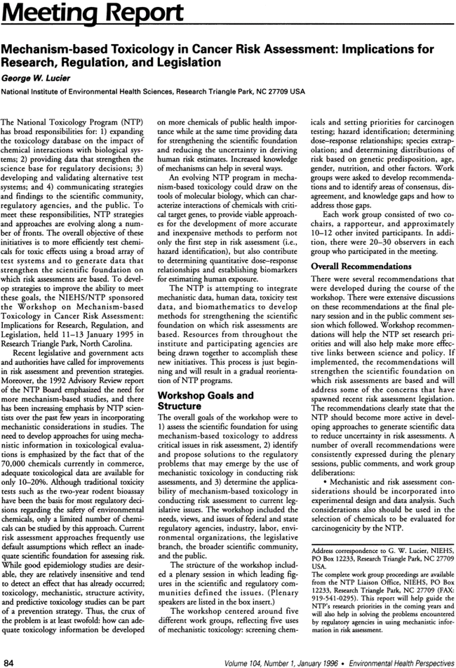 Mechanism Based Toxicology In Cancer Risk Assessment Implications