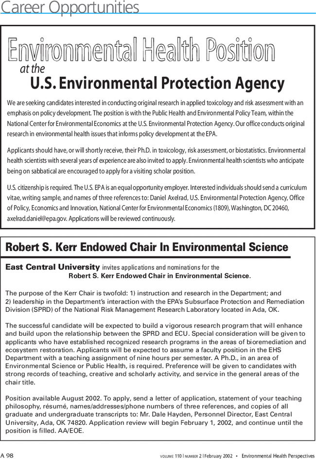 Career Opportunities | Environmental Health Perspectives | Vol  110