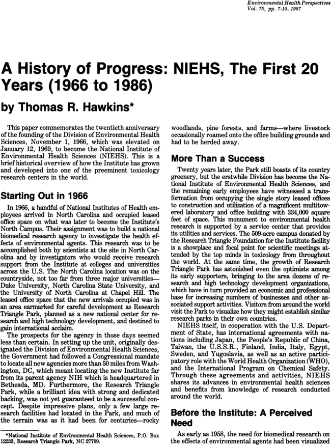 A History Of Progress NIEHS The First 20 Years 1966 To 1986
